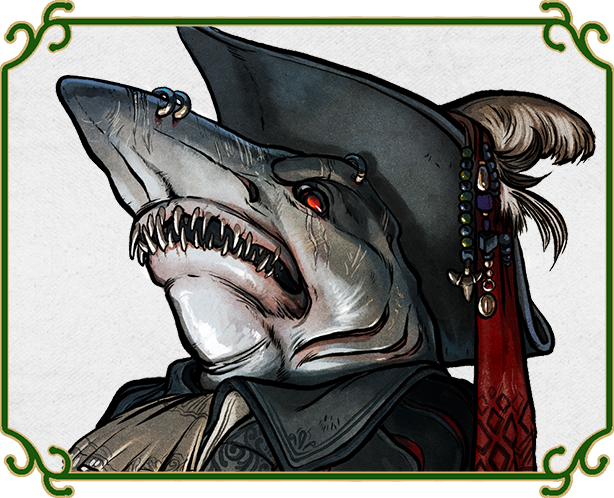 A wereshark pirate captain