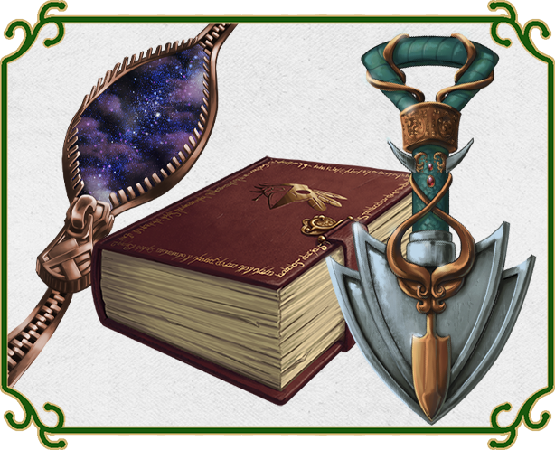 Magical items, including a loose zipper, a spellbook, and an ornate shovel